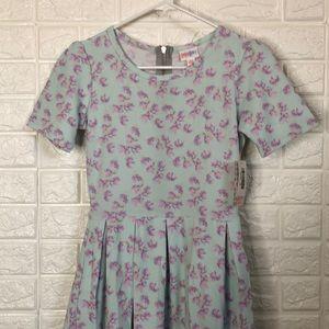 NWT LulaRoe Amelia pastel lavender floral dress